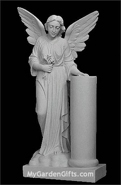 Memorial Angel Sculpture In Solid Marble