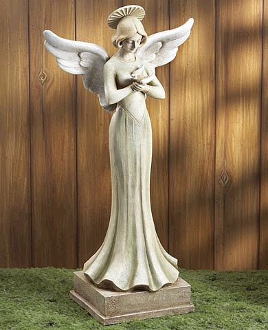 "30""H Angel with Dove Statue"