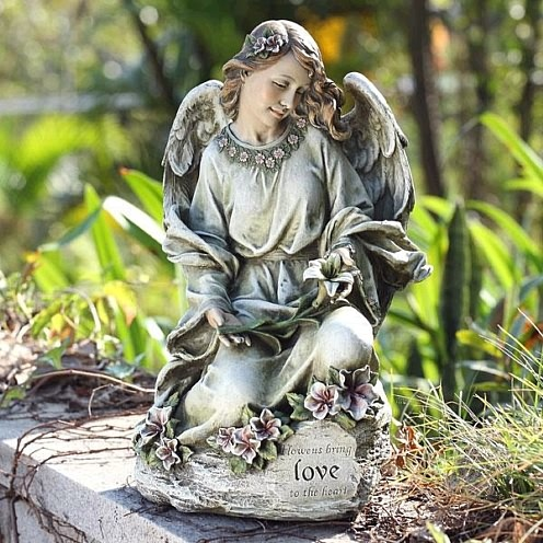 Pretty Garden Angel with Flowers