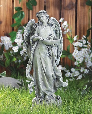 Peaceful Angel Bird Feeder Statue