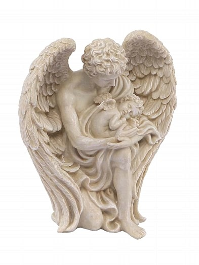 Male Guardian Angel with Sleeping Baby Figurine