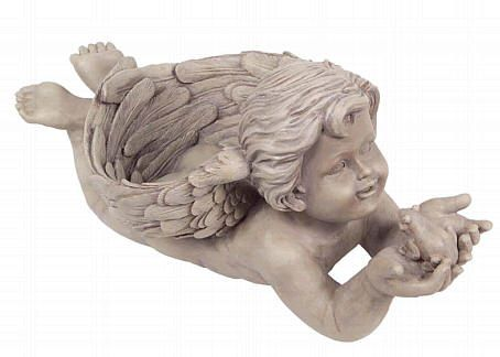 Boy Angel Planter with Frog Statue