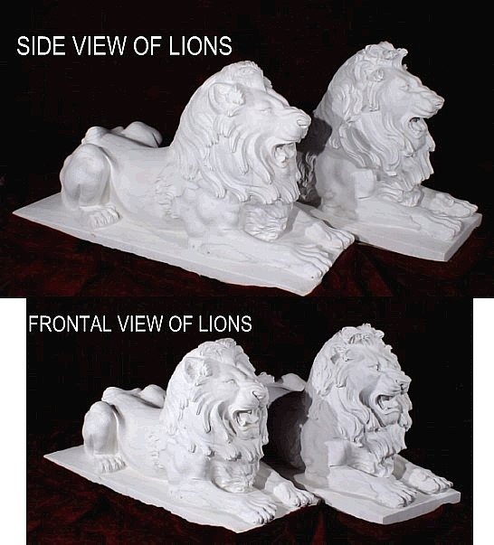 Grand Marble Lion Sculptures Set