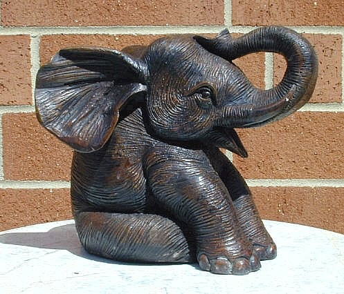 Bronze Sitting Elephant Sculpture