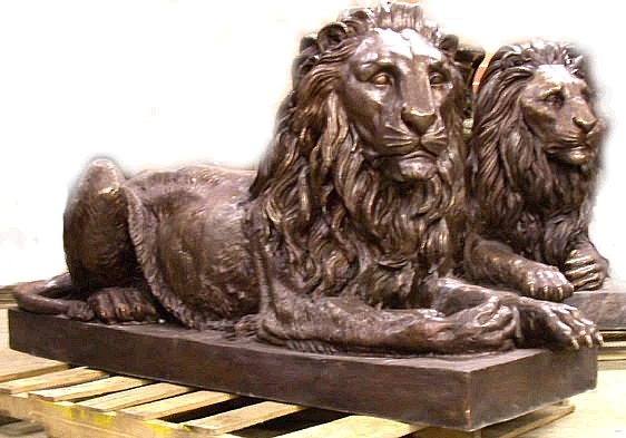 Bronze Life Size Lion Sculptures on Bases