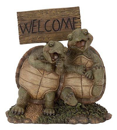 Happy Turtles with Welcome Sign