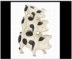 Three's a Company Black and White Pig Sculpture - Cast Iron