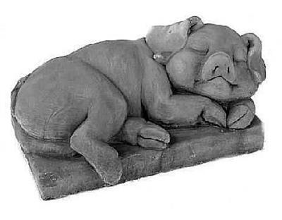Concrete Sleeping Pig Statue