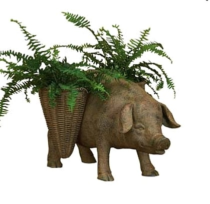Large Garden Pig Planter With Market Look