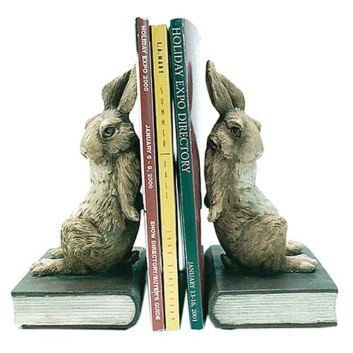 Pushing Rabbit Bunny Bookends