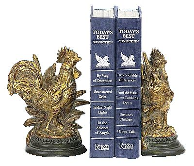 Gold Finished Rooster Bookends