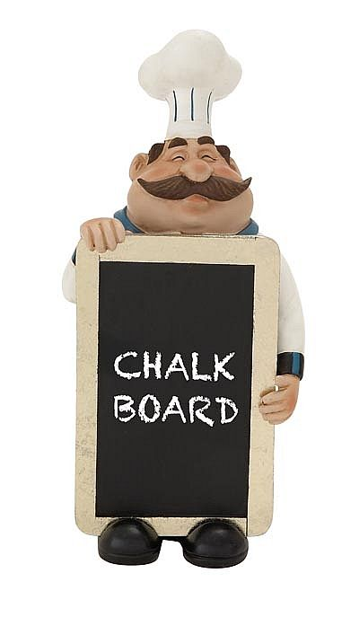 Hy Chef Statue With Chalkboard