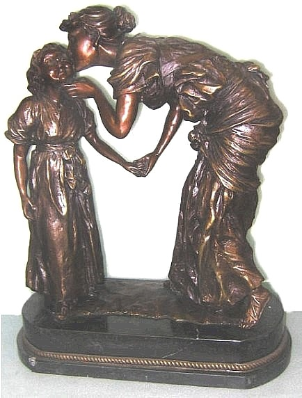 Bronze Mother Kissing Child