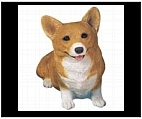 Red and White Pembroke Welsh Corgi Statue