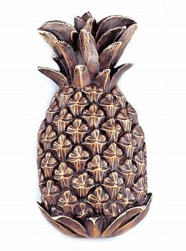 The pineapple fruit wound its way across colonial America as the ultimate symbol of welcome and hospitality as each hostess attempted to please and mesmorize their guests with its presence. Being an expensive fruit in those days, the pineapple fruit