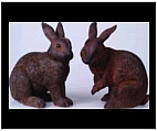 Set of Large Brown Bunny Statues