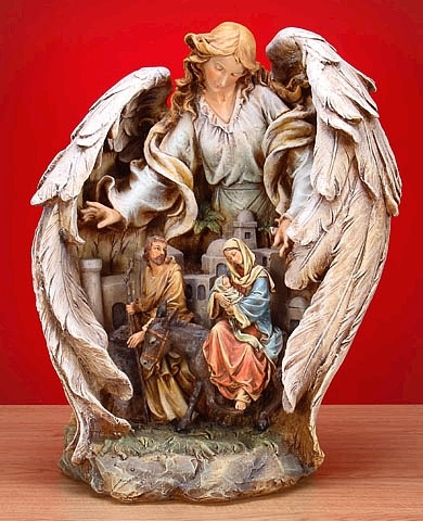 Guardian Angel with Holy Family Statue II