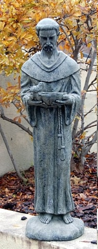 "43""H Saint Francis Statue and Bird Feeder"