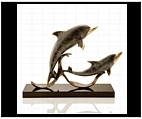 Dolphins on Marble Base Sculpture
