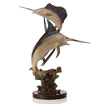 Marlin and Sailfish Sculpture on Waves
