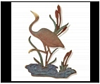 Crane Wall Plaque with Cattails