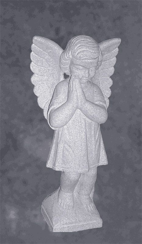Praying Cherub With Hands In Marble Monument Sculpture
