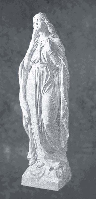 Life Size Virgin Mary Statue With Both Hands In Marble