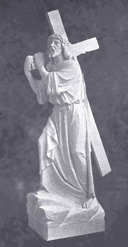 Jesus Carries Cross Sculpture In Marble Sculpture