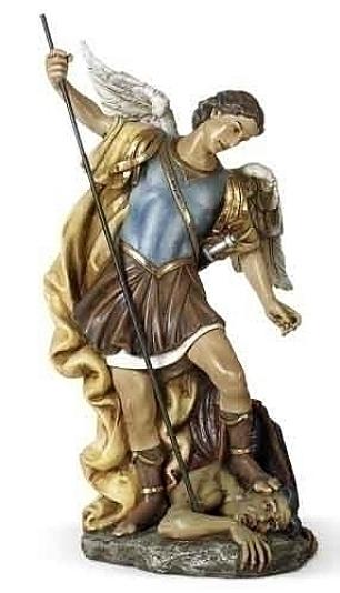 Archangel Saint Michael Spearing Devil Statue