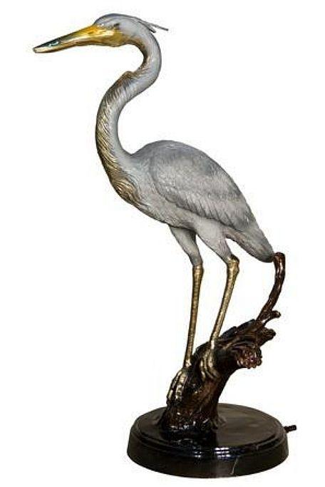 Beautiful Crane On Marble Base Sculpture