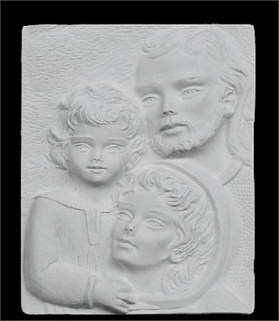 Holy Family Plaque in Marble