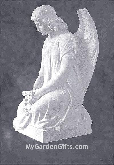 Kneeling Angel in Mourning Marble Sculpture