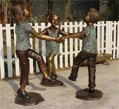 Friends Come in Threes Too! Bronze Sculpture