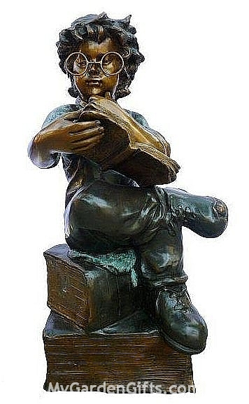 Little Genius Reading Boy Statue