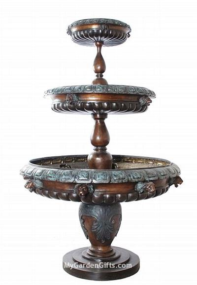 Tiered Fountain with Classical Lion Head Designs