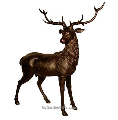 Life Size Attentive Male Deer Sculpture