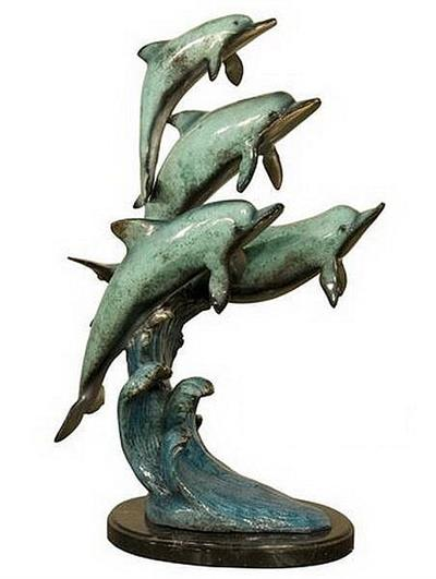 4 Diving Dolphins Sculpture