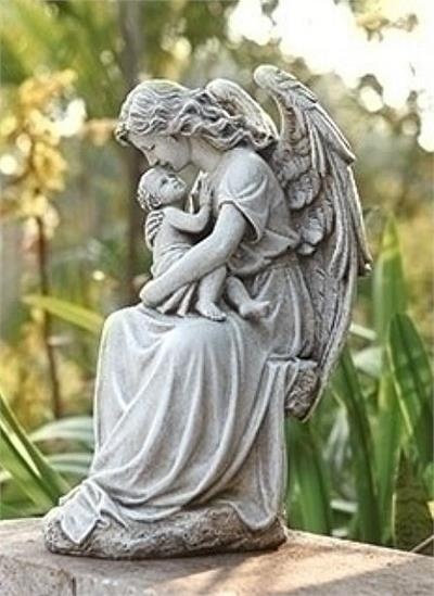 Guardian Angel Holding Baby In Arms Statue