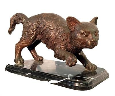 Crouching Cat Statue on Marble Base