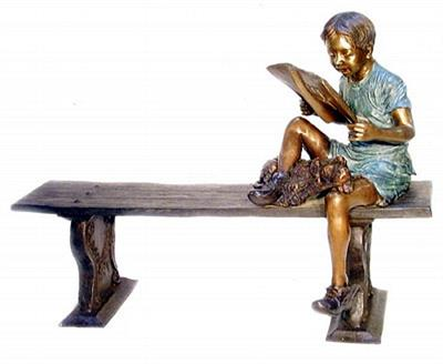 Reading Boy on Bench with Book