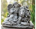 Angel Watching Over Lion and Lamb Statue I