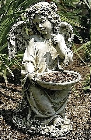 Sitting Angel Girl Feeder with Halo of Flowers