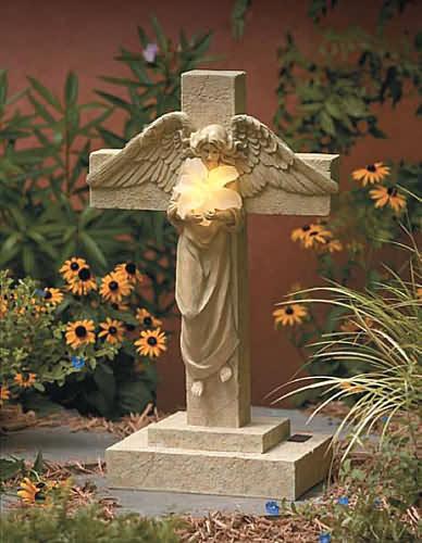 Garden Angel And Cross Solar Statue