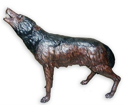 Frightened Wolf Sculpture