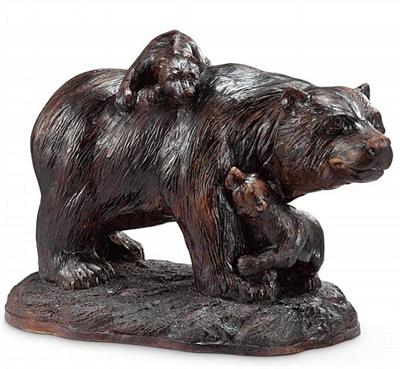 Mama and her Babies Bear Sculpture