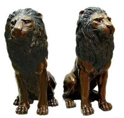 Left and Right Sitting Lions