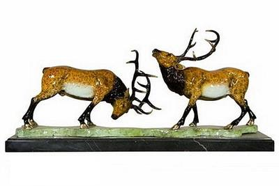 Fighting Deers on Marble Base