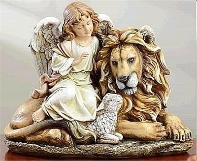 Angel Watching Over Lion and Lamb Statue