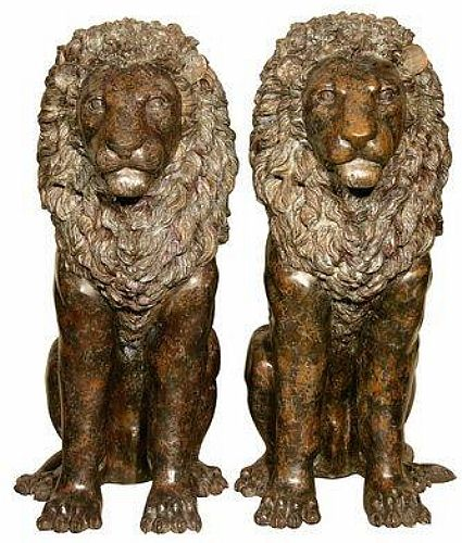 Royal Sitting Lion Sculptures Set