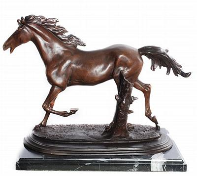 Galloping Horse on Marble Base